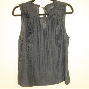 Madewell C4025 Swiss dot ruffle tank top blouse L